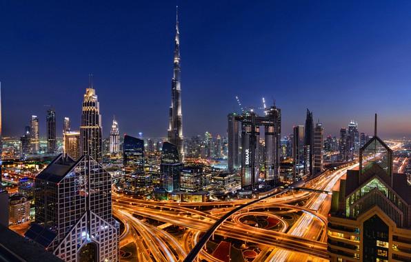 Картинка ночь, город, огни, дороги, дома, Дубай, небоскрёбы, вид сверху, ОАЭ