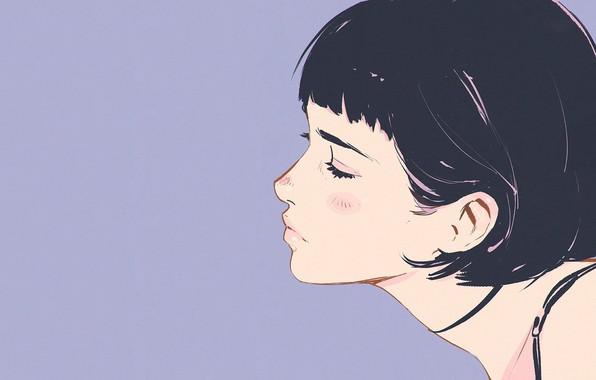 Картинка лицо, стрижка, профиль, шея, челка, закрытые глаза, сиреневый фон, портрет девушки, Илья Кувшинов
