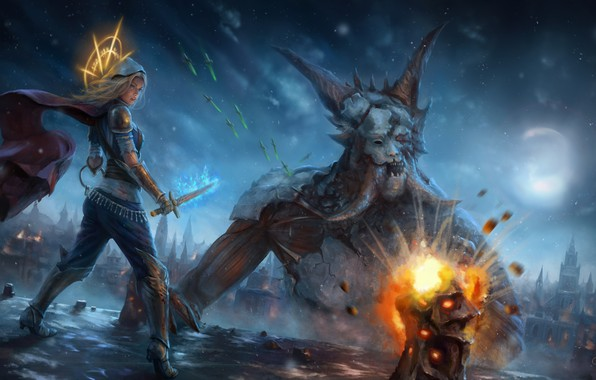 Картинка city, demon, explosion, fire, girl, moon, sword, fantasy, game, magic, horns, monster, weapon, night, blonde, ...