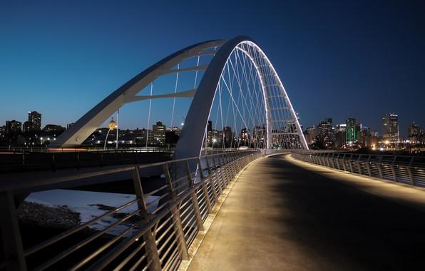 Картинка мост, огни, подсветка, Канада, Edmonton, Эдмонтон