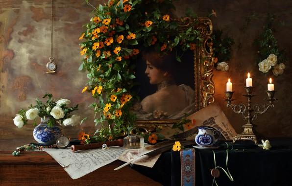 Картинка перо, свечи, гжель, Натюрморт со скрипкой и картиной