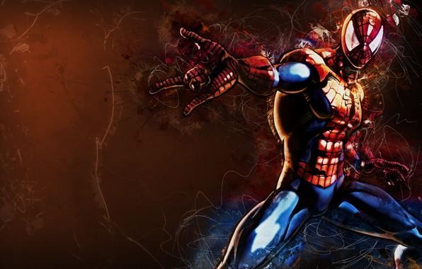 Картинка fantasy, Marvel, comics, digital art, artwork, mask, superhero, costume, fantasy art, Spider Man, spiderweb