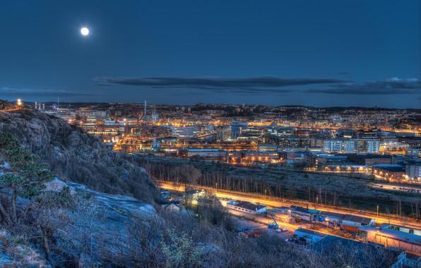 Картинка небо, ночь, огни, луна, дома, Швеция, Gothenburg