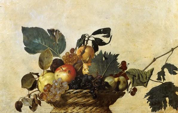 Картинка картина, натюрморт, Караваджо, Корзина c Фруктами