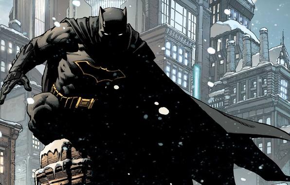 Картинка Зима, Город, Снег, Бэтмен, Костюм, Здания, City, Крыша, Герой, Маска, Комикс, Плащ, Супергерой, Hero, Winter, …