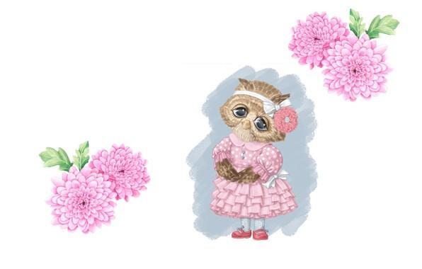 Картинка цветы, настроение, сова, рисунок, арт, карандаш, бантик, детская, платьице