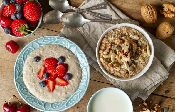Картинка ягоды, завтрак, черника, орехи, breakfast, мюсли, овсянка