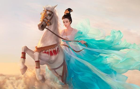 Картинка девушка, конь, всадница, арт, фЭнтези, Da congjun, fanbingbing