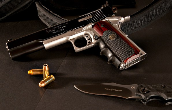 Картинка пистолет, оружие, тюнинг, нож, gun, патроны, weapon, кастом, custom, M1911, 1911, knife, М1911