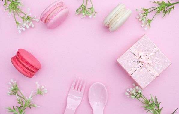 Картинка цветы, подарок, love, розовые, pink, flowers, beautiful, romantic, gift, macaroon, macaron, tender, макаруны