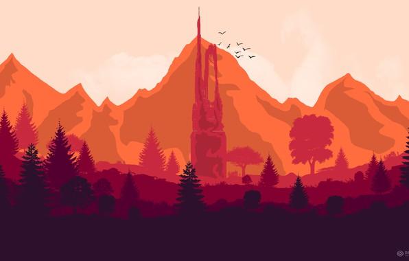 Картинка Горы, Башня, Игра, Лес, Птицы, Холмы, Пейзаж, Арт, Art, Campo Santo, Firewatch, Пожарный дозор