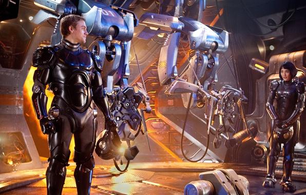 Картинка cinema, girl, robot, soldier, military, man, movie, brunette, hero, asian, film, suit, japanese, Charlie Hunnam, …