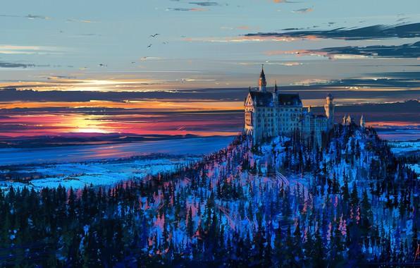 Картинка зима, небо, снег, деревья, пейзаж, закат, птицы, замок, рисунок, гора, Германия, Бавария, арт, Нойшванштайн