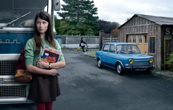 Картинка авто, девушка, город, ретро, автобус, Stories
