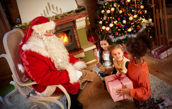 Картинка дети, праздник, елка, подарки, Новый год, камин, гирлянда, Санта Клаус, мишура, Christmas, Santa Claus, gifts, …