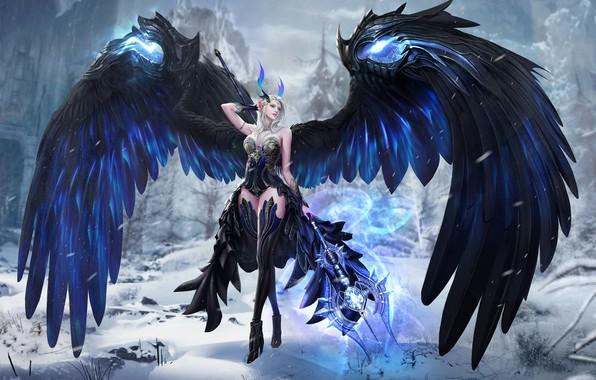 Картинка игра, крылья, фэнтези, арт, уровень, локация, лвл, 태섭 신, дизайн костюма, ERA OF ANGELS