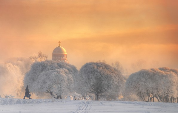 Картинка зима, иней, снег, деревья, церковь, мужчина, прогулка, холодно