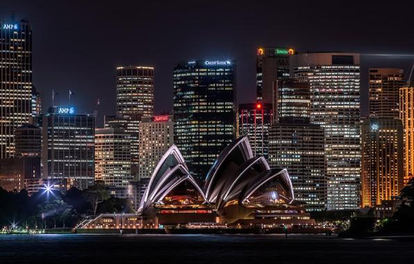 Картинка море, вода, ночь, город, огни, надписи, улица, здание, окна, здания, дома, небоскребы, вечер, освещение, Австралия, ...
