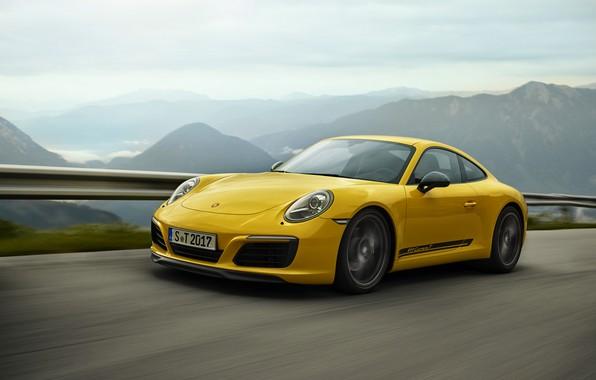 Фото обои жёлтый, 911 Carrera T, дорога, Porsche, ограждение, горный пейзаж