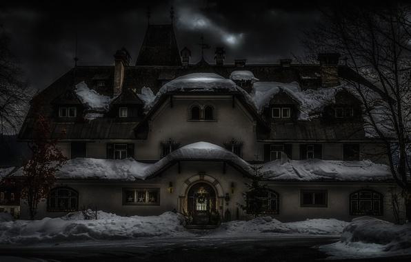 Картинка зима, снег, дом, праздник, Австрия, Новый Год, Рождество, архитектура