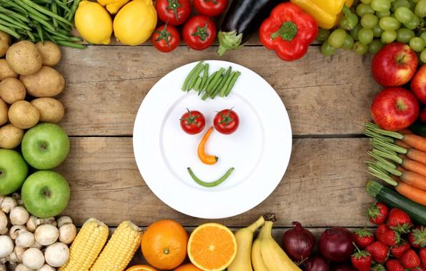 Картинка лимон, грибы, яблоко, апельсин, кукуруза, лук, клубника, тарелка, виноград, баклажан, перец, фрукты, банан, овощи, помидор, …