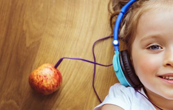 Картинка лицо, креатив, настроение, наушники, девочка, apple music