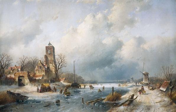Картинка пейзаж, дом, масло, башня, Зима, картина, канал, ветряная мельница, Шарль Лейкерт