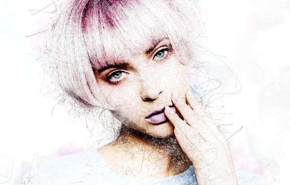 Картинка девушка, лицо, стрижка, арт, блондинка