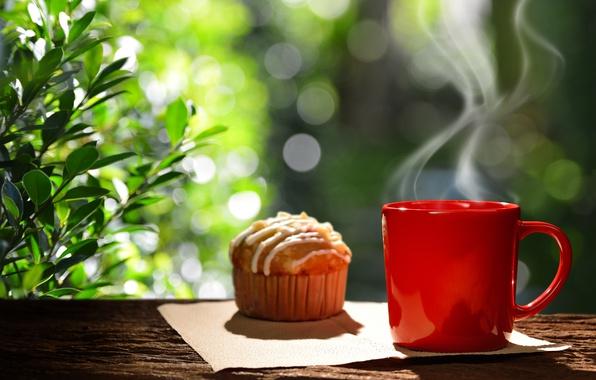 Картинка кофе, завтрак, чашка, hot, coffee cup, cupcake, кекс, good morning, breakfast