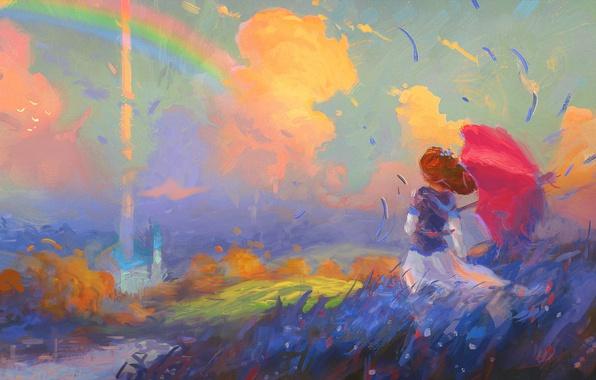 Картинка поле, небо, девушка, облака, ветер, радуга, шляпа, зонт, арт, девочка