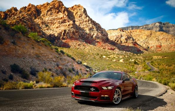 Картинка дорога, небо, горы, скалы, Mustang, Ford, Shelby, Super Snake