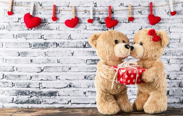 Картинка праздник, сердечки, день влюбленных, мишки