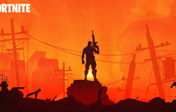 Картинка воин, силуэт, руины, Fortnite