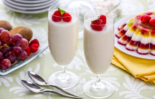 Картинка ягоды, малина, коктейль, десерт, молочный