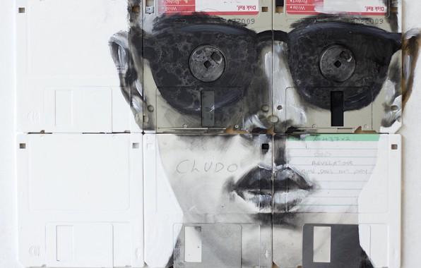 Картинка очки, губы, Nick Gentry, Сюрреализм, CRIME DOES NOT PAY