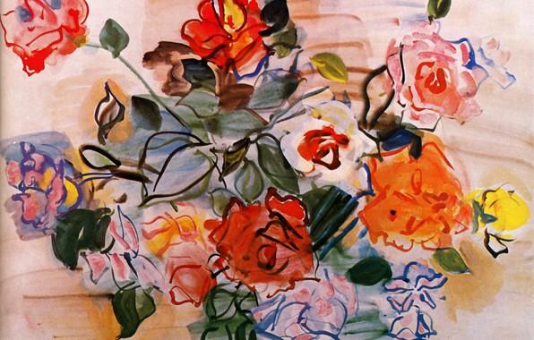 Картинка New York, 1940, Raoul Dufy, Aquarelle et gouache, Collection Albert D. Lasker, Pink bunch, Bouquet …