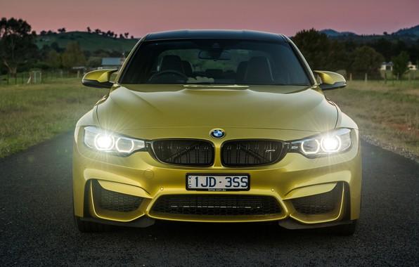Фото обои фары, вечер, спорткар, BMW M4, BMW M3 F80