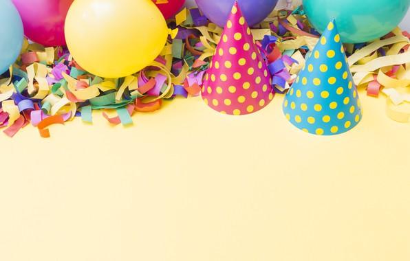 Картинка праздник, шары, шапочки, День рождения