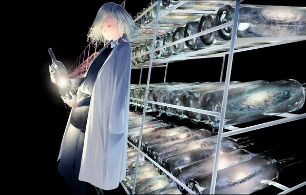 Картинка девушка, сияние, бутылки, лаборатория, хранилище, сверхновая, закрытые глаза, в шортах, белый халат, гала́ктики