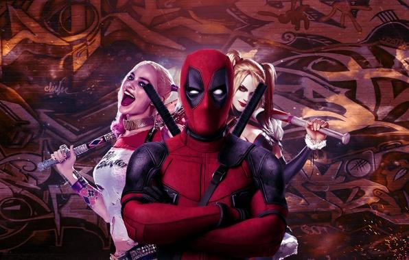 Картинка cinema, girl, sword, katana, man, Deadpool, movie, ken, blade, film, mask, strong, Harley Quinn, ninjaken, …