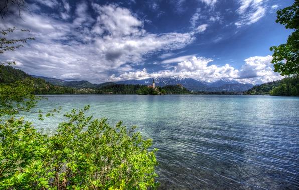 Картинка зелень, лес, облака, деревья, горы, ветки, озеро, берег, HDR, дома, церковь, островок, кусты, Словения, Lake …