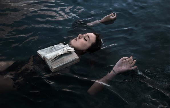 Фото обои книга, девушка, озеро