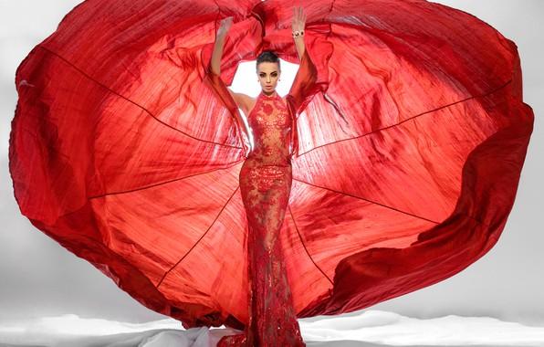 Картинка red, fashion, dress, woman