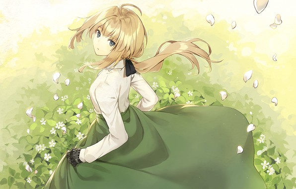 Картинка girl, grass, dress, anime, violet evergarden