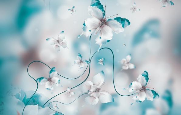 Фото обои blue, butterflies, floral, бабочки, water, лепестки