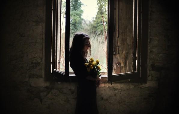 Картинка девушка, цветы, окно