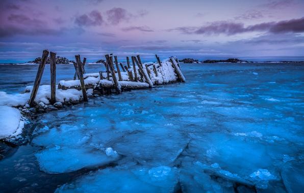 Картинка зима, море, берег, лёд