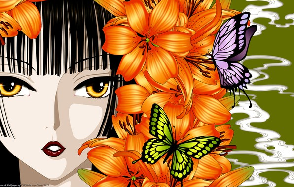 Фото обои девушка, бабочки, цветы, лицо, лилии, аниме, арт, xxxHolic