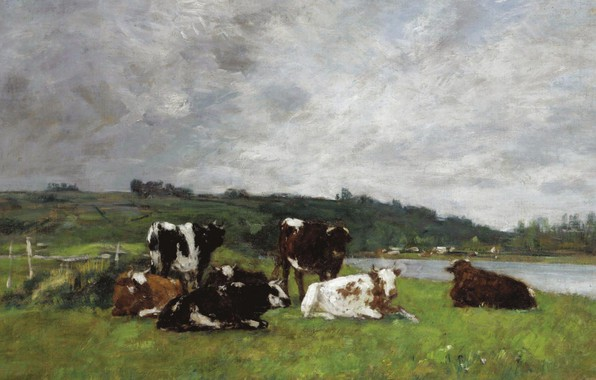 Картинка животные, картина, Эжен Буден, Коровы на Пастбище, Eugene Boudin