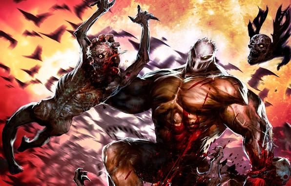 Картинка кровь, человек, маска, монстры, зомби, маньяк, Splatterhouse
